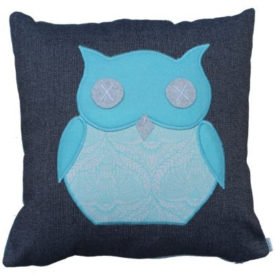 Ollie owl Mint & Grey cushion
