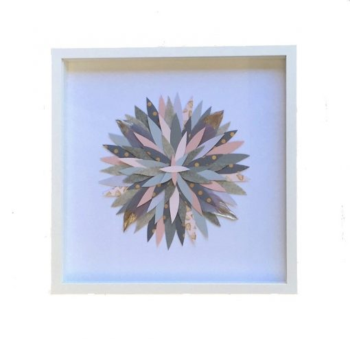 Small Round Collage Framed Artwork - Pink, Grey & Gold